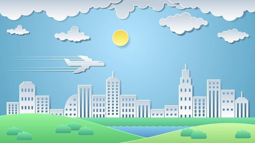 vector de paisaje de arte de papel de ciudad