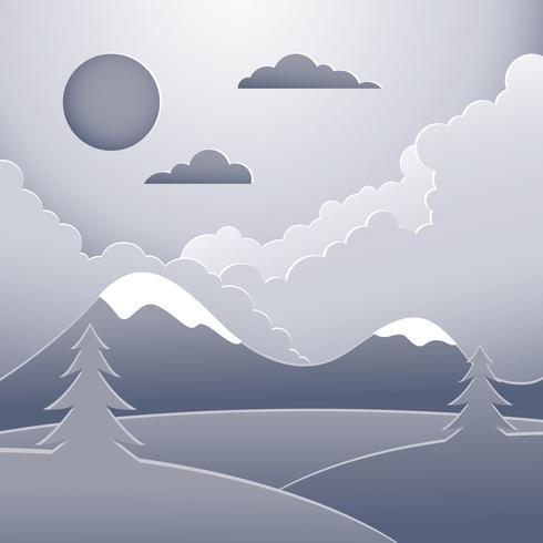 Paper Art Landscape Illustration