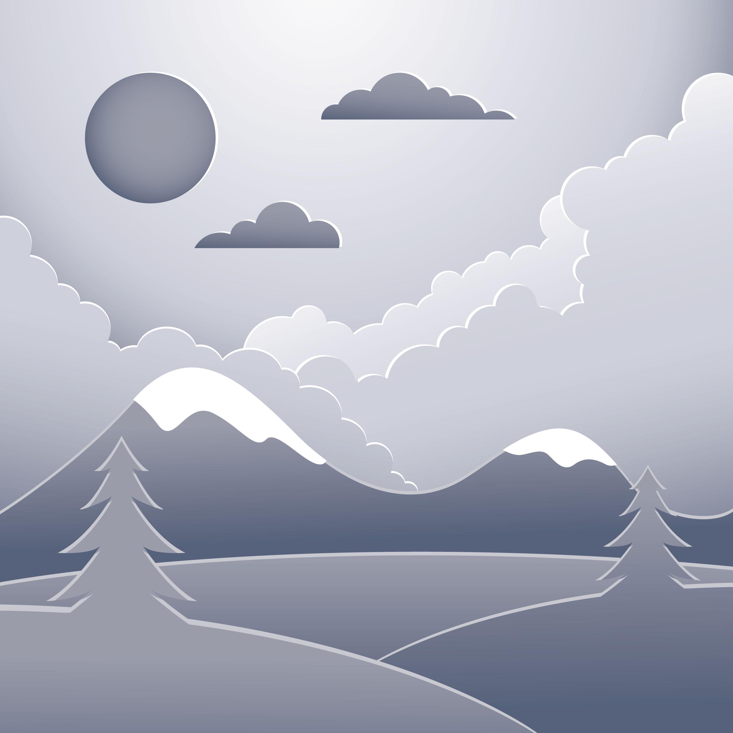 Landscape Illustration Vector Free: Paper Art Landscape Illustration