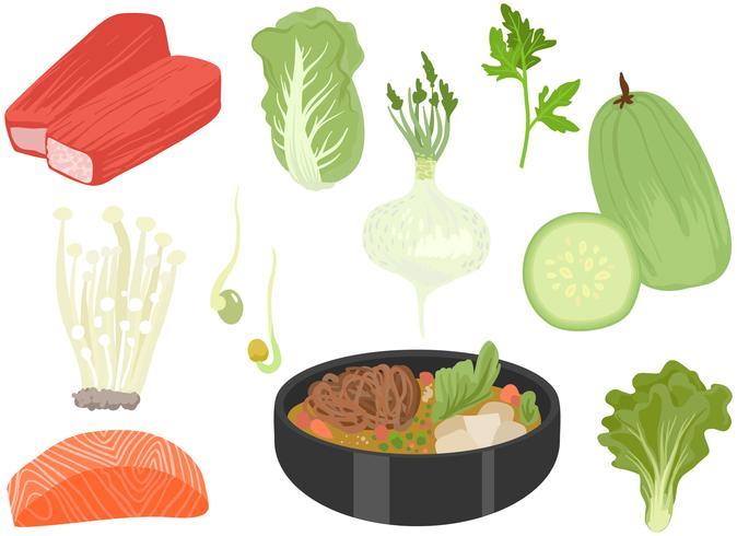 Hot Pot Ingredients Vectors
