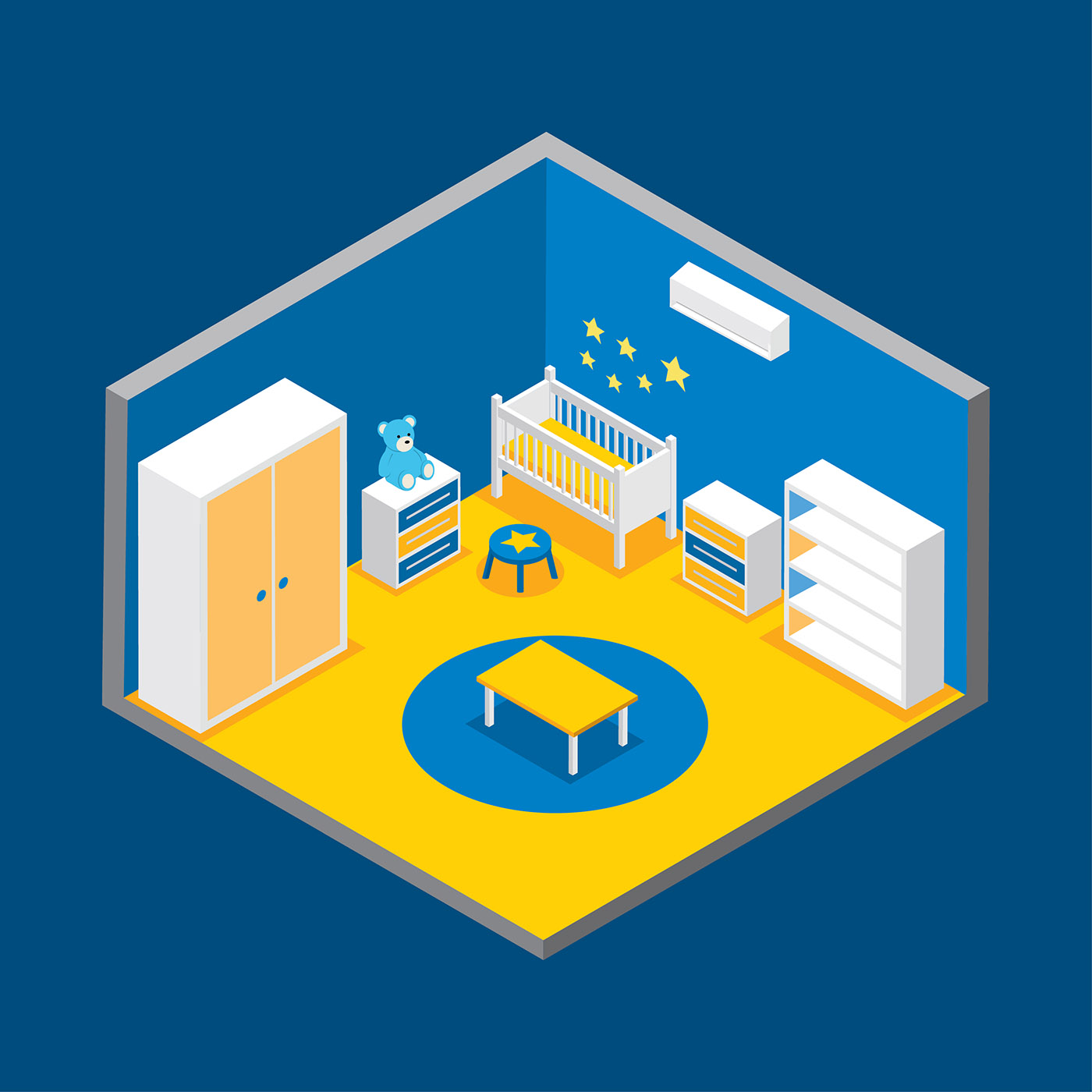 Kids Room Decoration Space Theme Vector Illustration: Kids Room Decor Isometric Vector