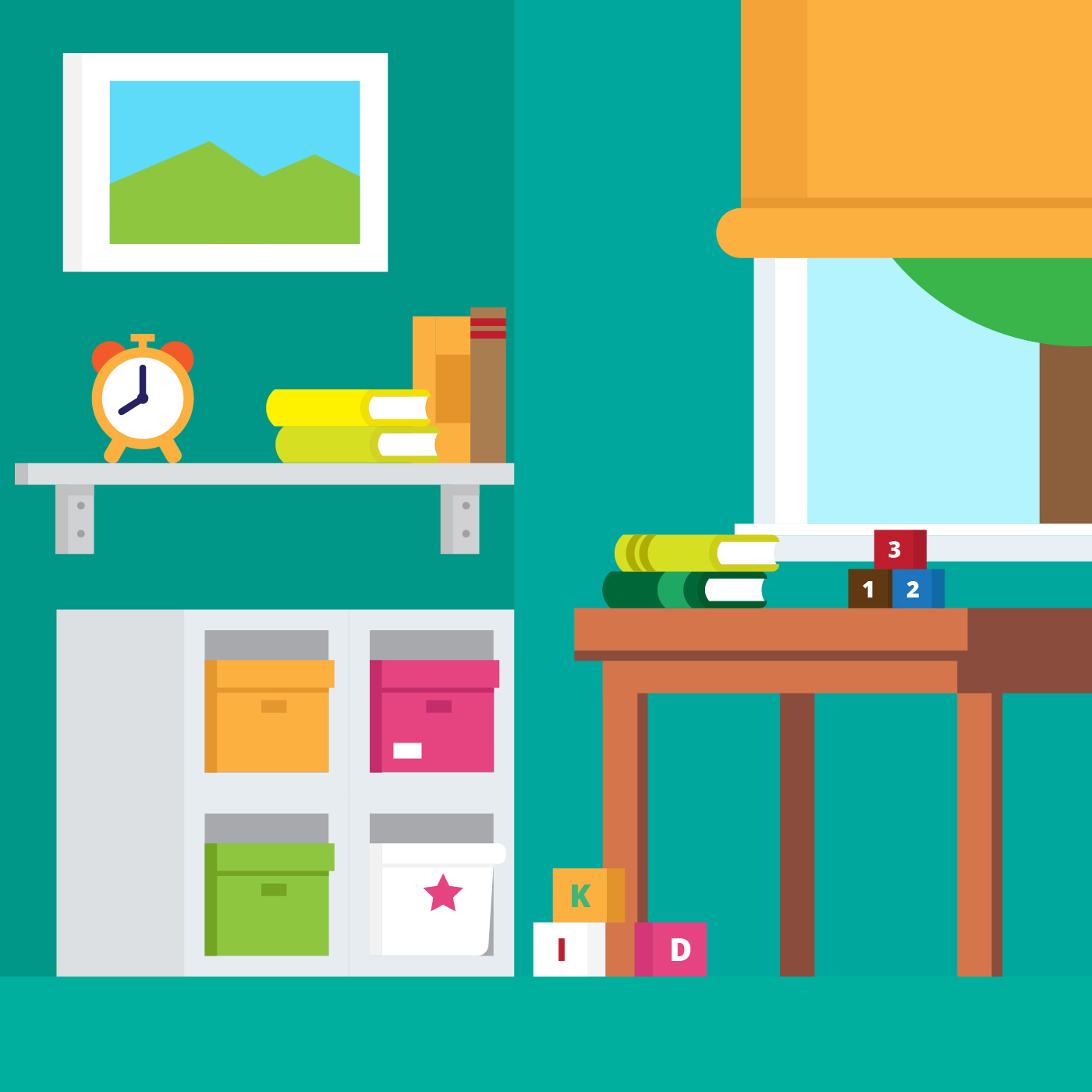 Kids Room Decoration Space Theme Vector Illustration: Kids Room Interior Vector Illustration