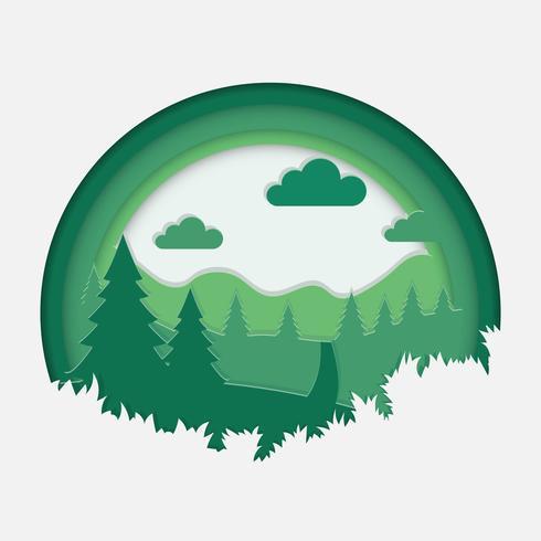 Illustration de paysage Art papier vert