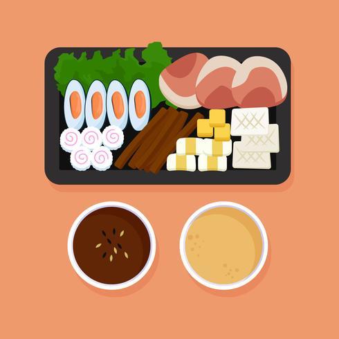 Heerlijke hotpot- en ingrediëntenvectoren