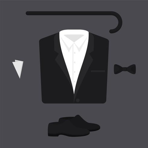 Set Of Walking Stick, Tuxedo, Shoes, Tie