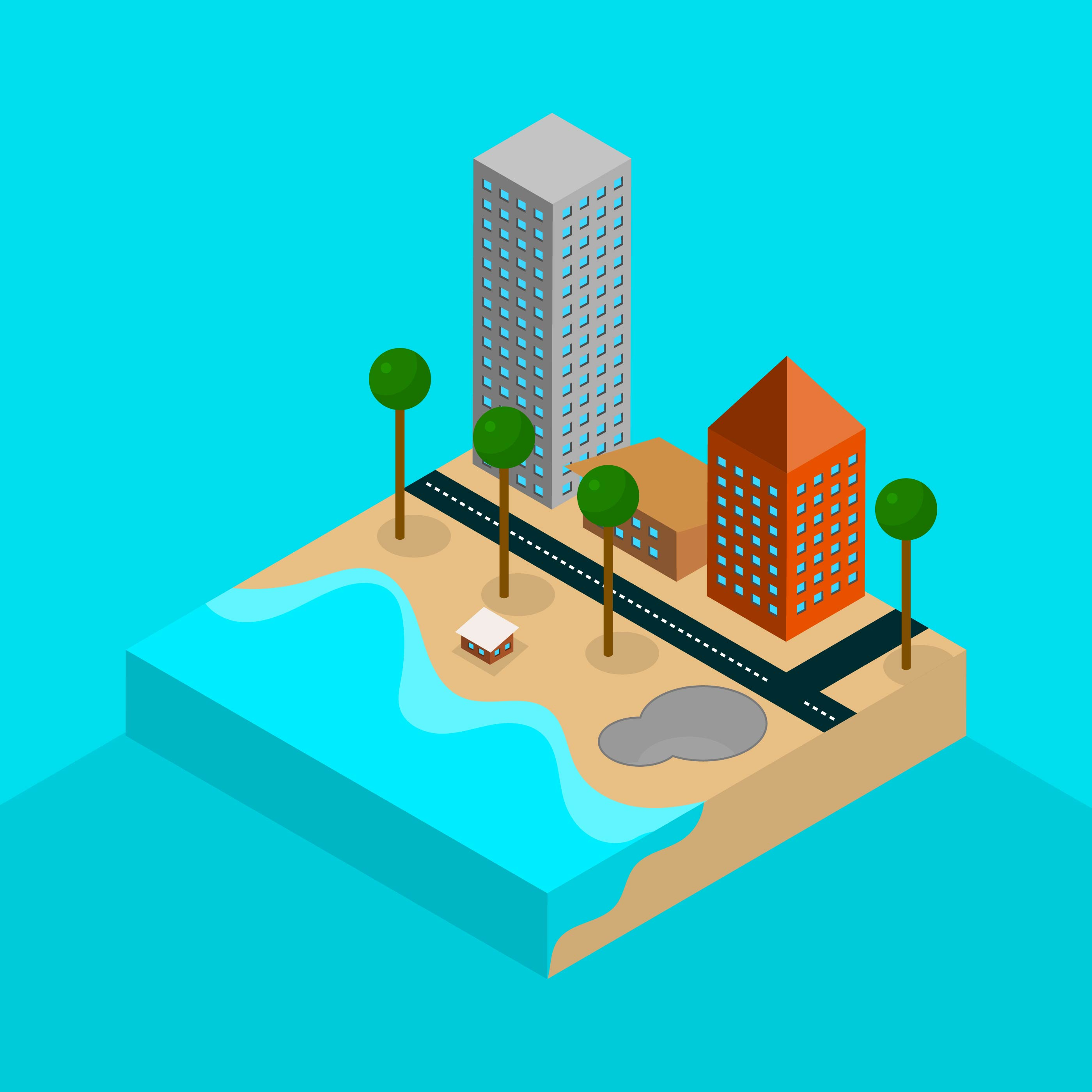 Flat Isometric Venice Beach Vector Illustration