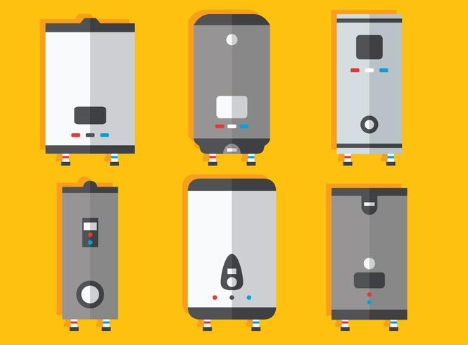 Flat Water Heater Collectie Vector