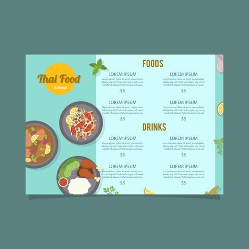 Modèle de vecteur Menu cuisine thaïlandaise