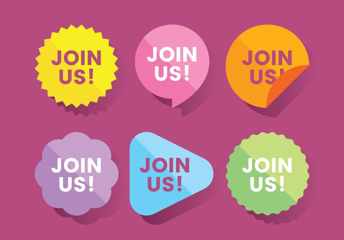 Join Us Website Sticker Vector