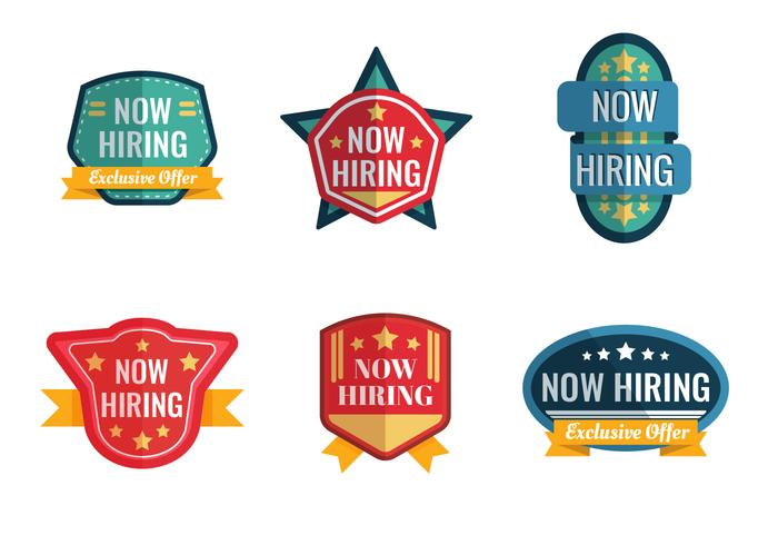 Now Hiring Badge Vector Collection