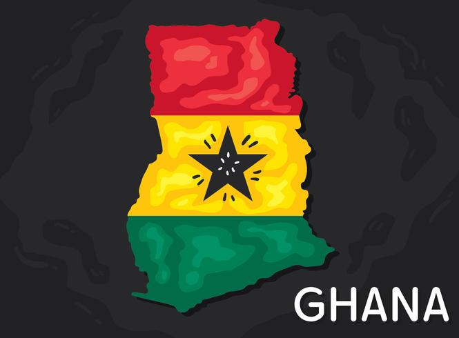 Ghana Map With Flag Vector