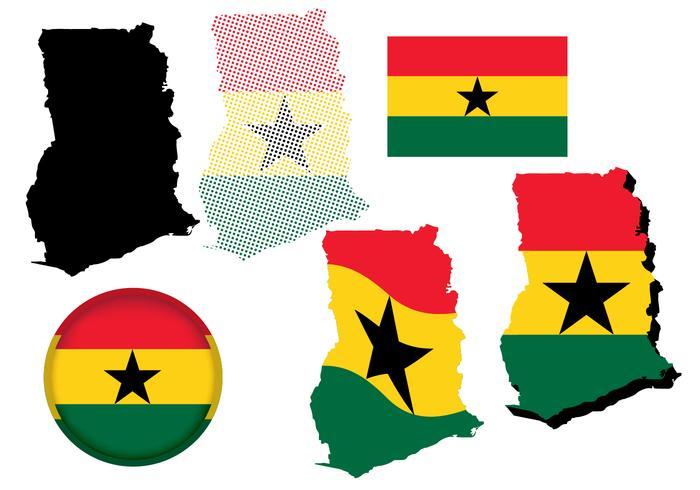 Ghana Karte und Flagge