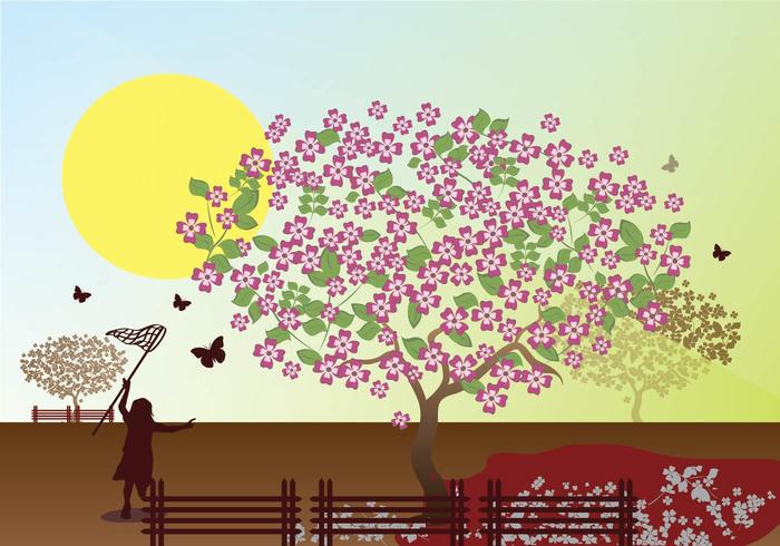 Dogwood Tree Outdor Park Illustration