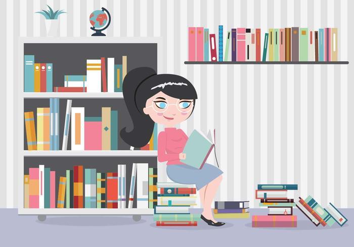 Bücherwurm-Mädchen mit vielen Büchern