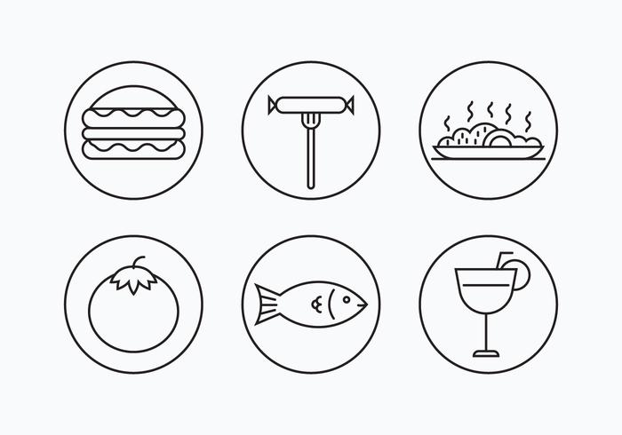 Charcuterie Simple Outline Icons