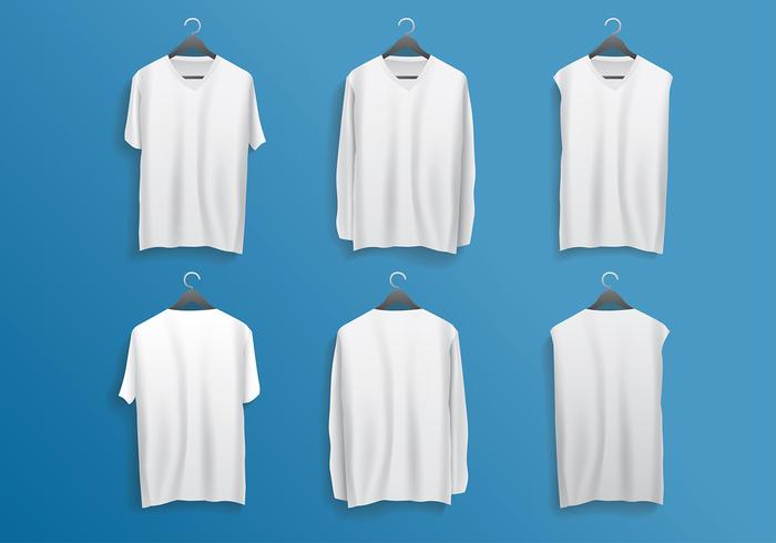 V-Neck Template Hanging Realistic Free Vector