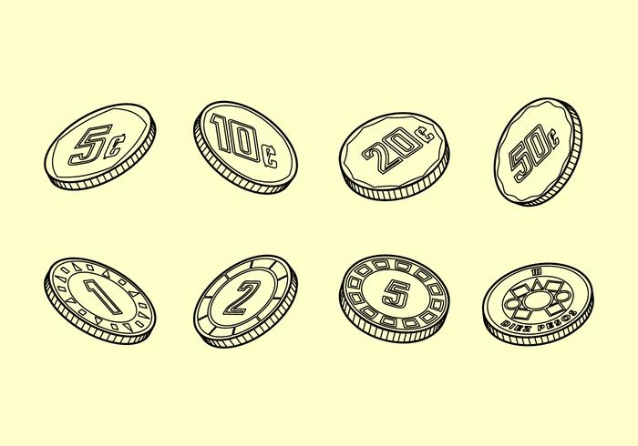 Peso Coins Outline Vector