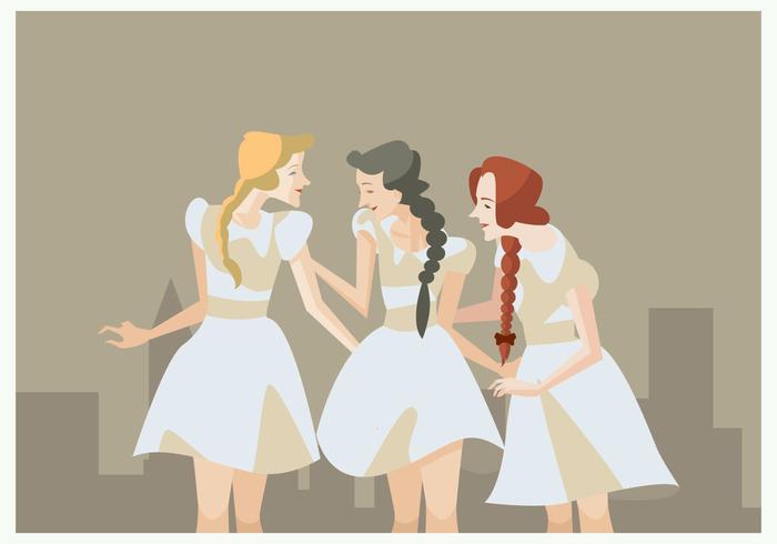 3 meninas vintage com vetor de trituração