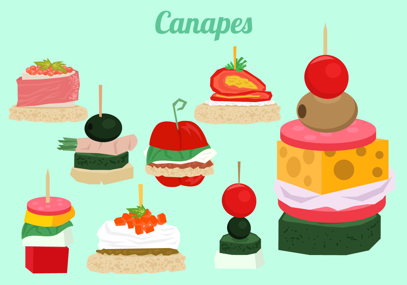 Cenapes buffet download free vector art stock graphics for Canape vector download