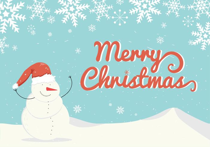 Sneeuwpop Kerstkaart Vector