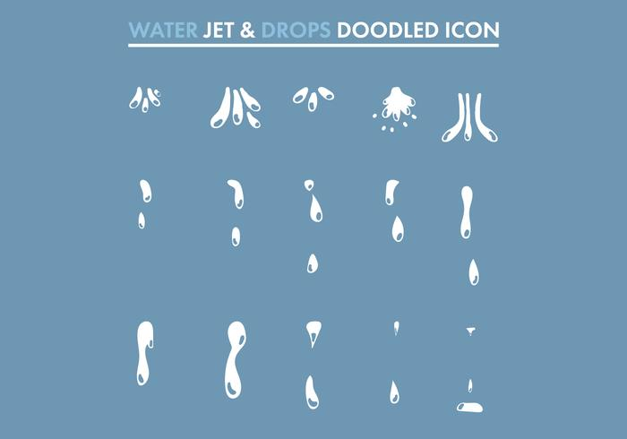 Water Jet & Drops Doodled Icons