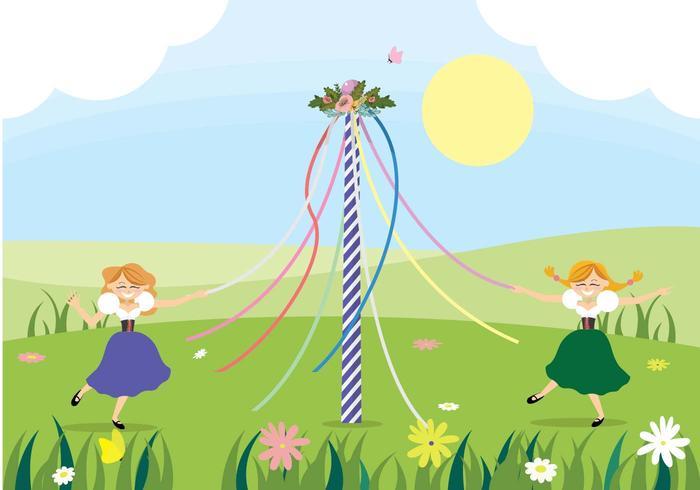 Maypole Dancing Vector - Download Free Vector Art, Stock Graphics & Images