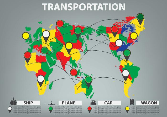 World Map information infographic transport