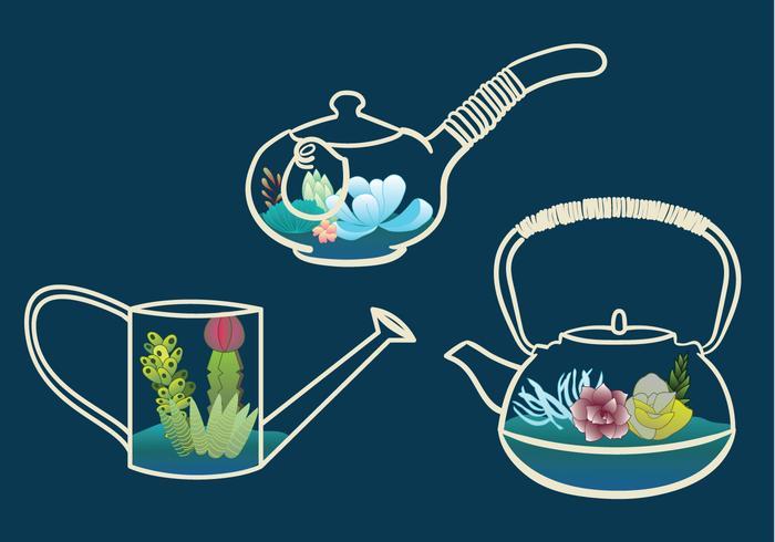 Terrarium Teapot Vector