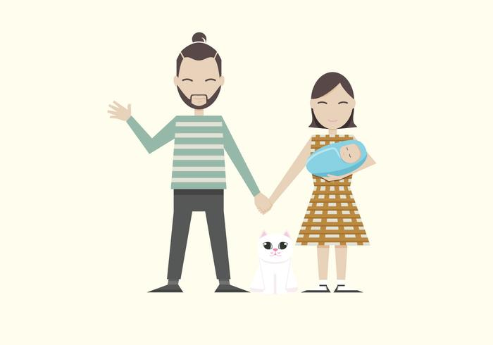 Hipster Family Vector