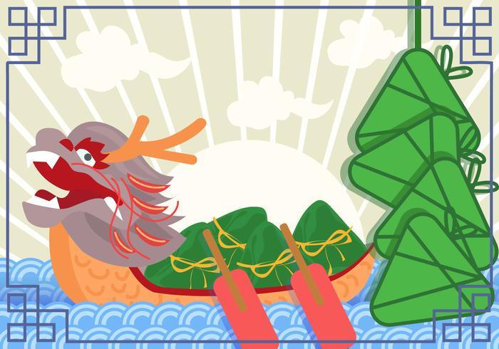 Festival des bateaux-dragons vecteur