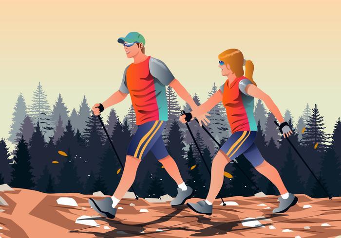 Man en vrouw lopen Vector