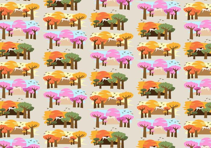 Baobab Trees Africa Pattern Vector