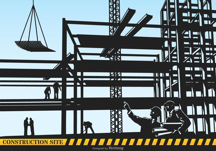 Illustration de Silhouette vecteur site de construction