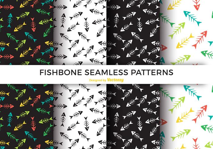 Färgrik Fishbone Seamless Pattern Vector Set