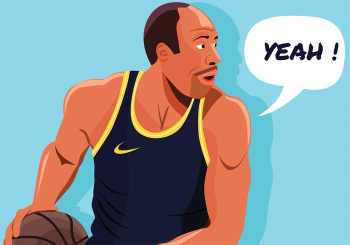 Desenho exagerado do vetor do jogador de basquete