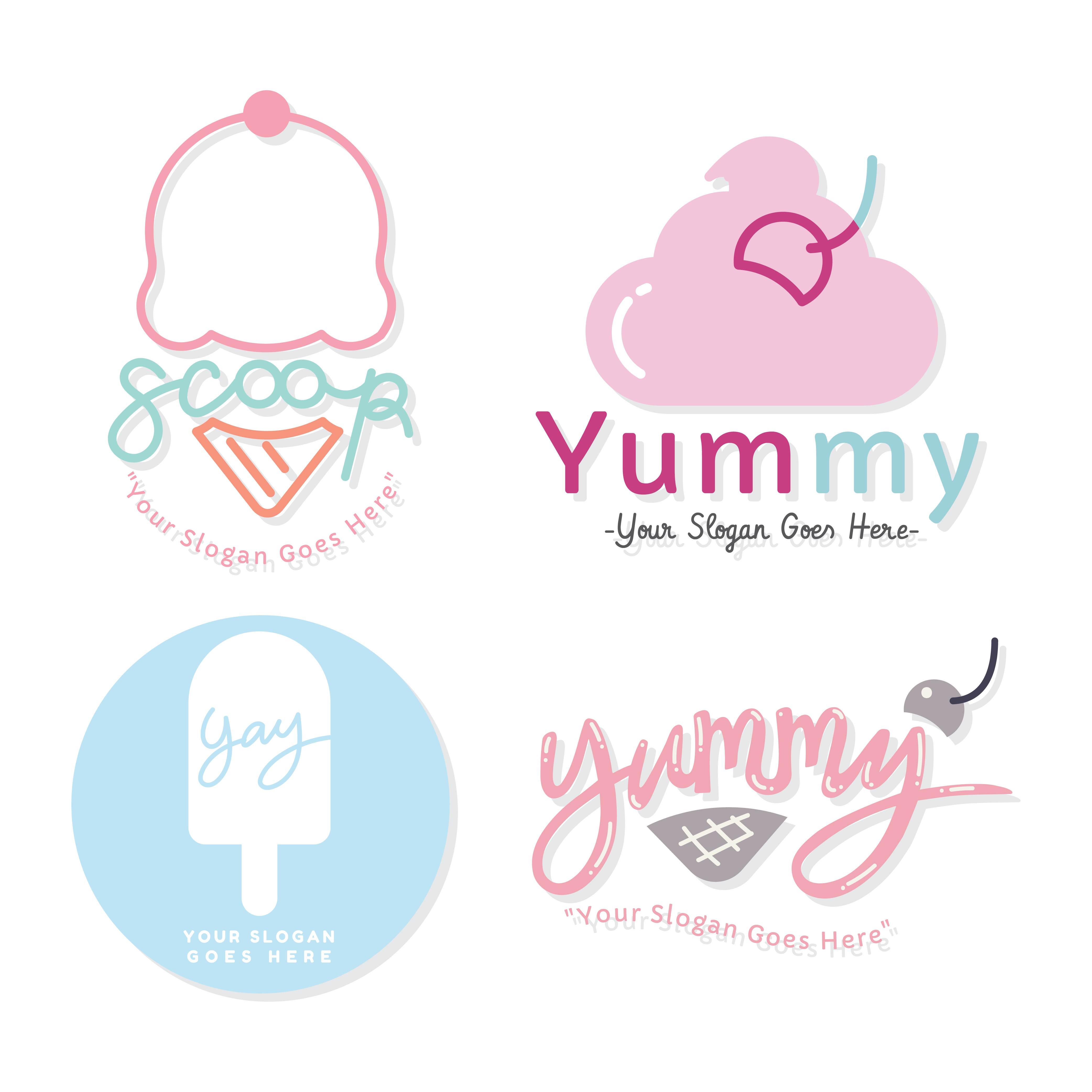 Ice Cream Free Vector Download 980 Free Vector For: Ice Cream Logo Set Vector