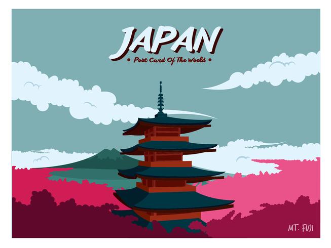 Japan Postcard Vector