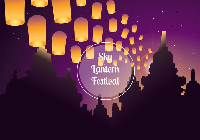 Sky Lantern Festival Vector Background