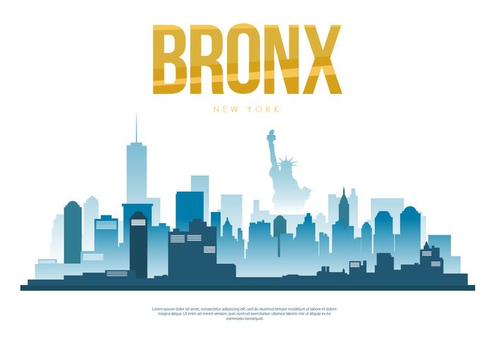 Bronx City Skyline Silhouette Illustration vectorielle
