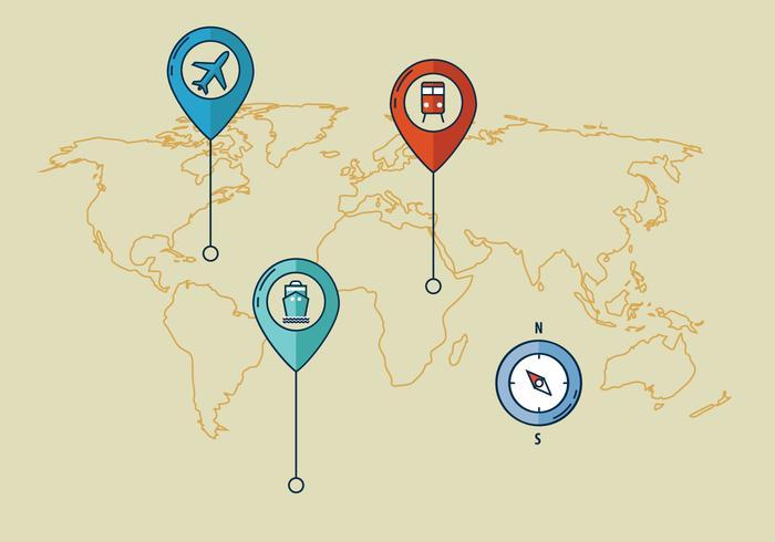 Icono de transporte del mapa mundial