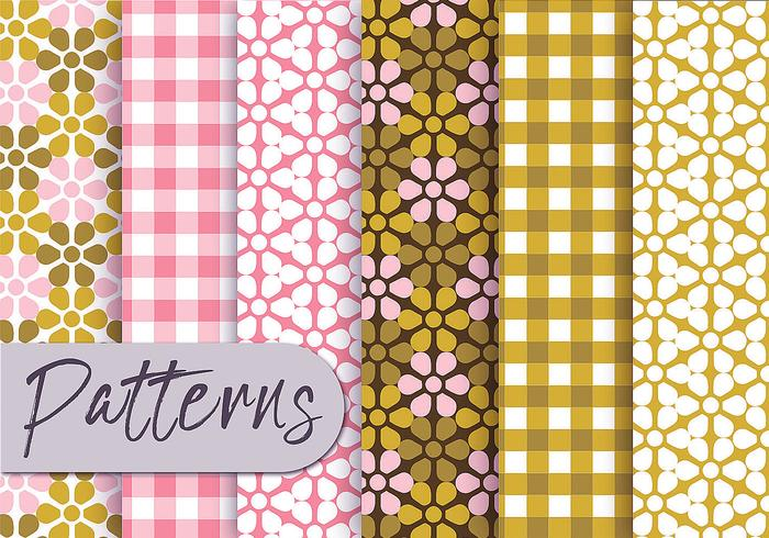 Olive Pink Decorative Pattern Set vector