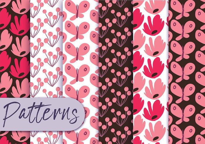 Coral Floral Pattern Set