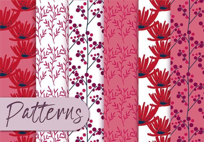 Conjunto de patrón floral rojo