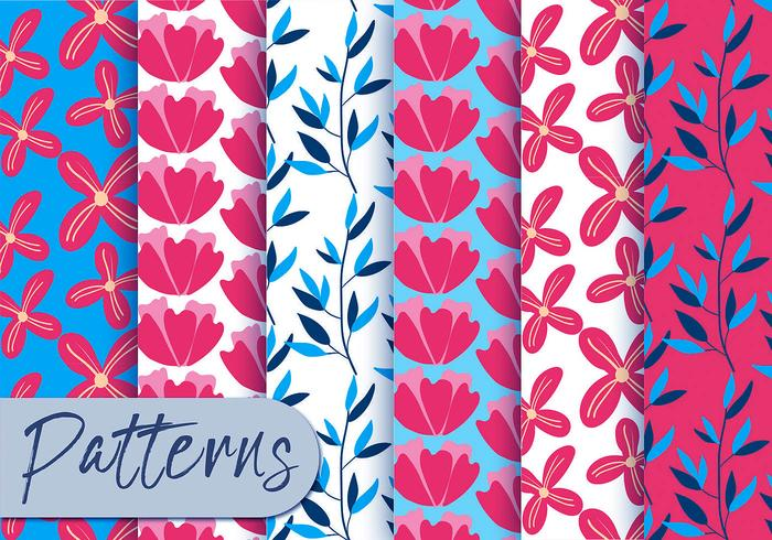Red And Blur Floral Pattern Set