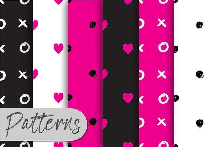Roze Hand getrokken patroon ingesteld vector