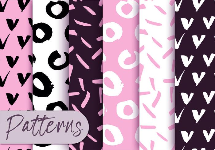 Zachte roze en zwarte patroonreeks
