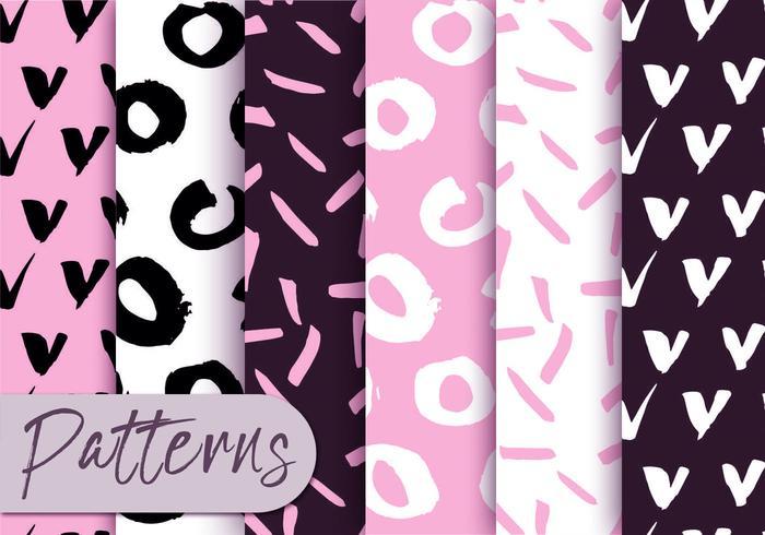 Soft Pink and Black Pattern Set