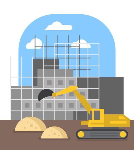 Platte constructie illustratie