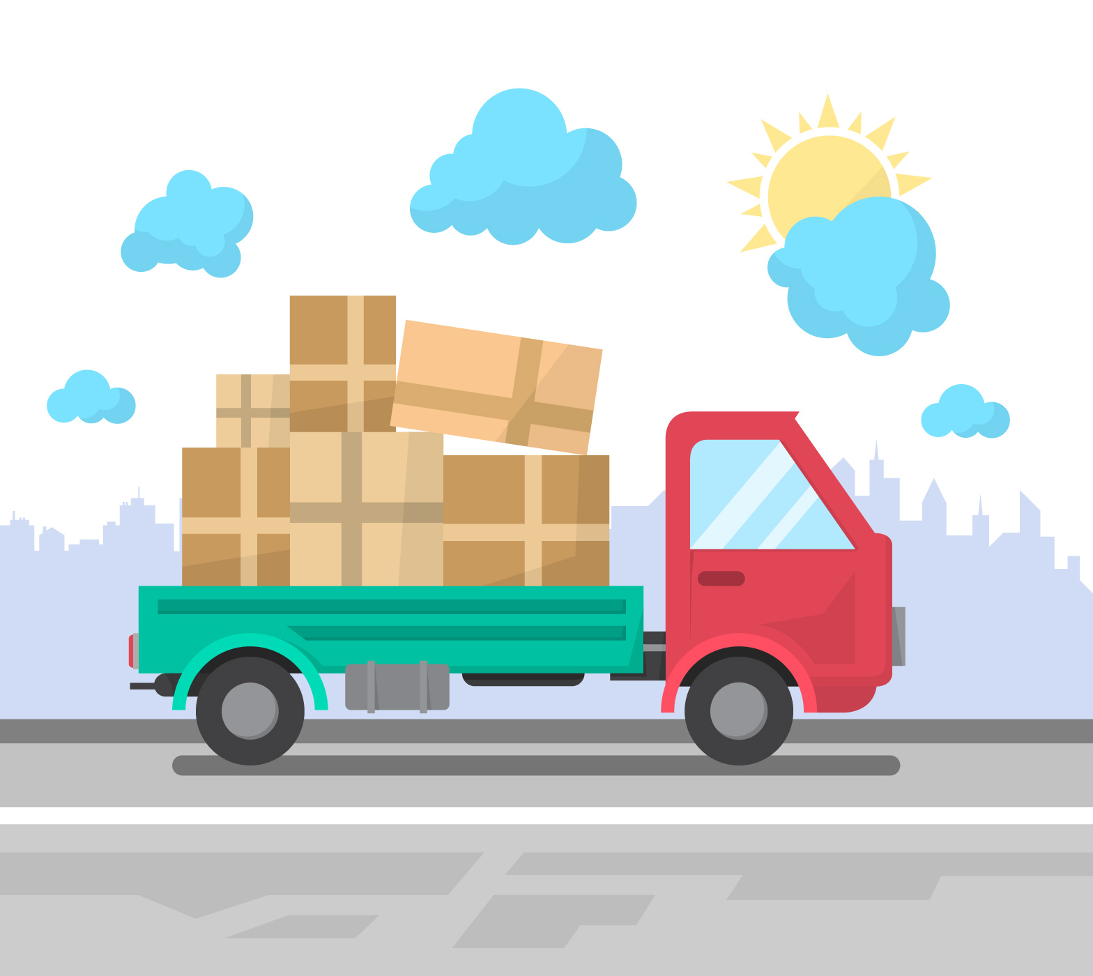 flat delivery truck download free vector art stock