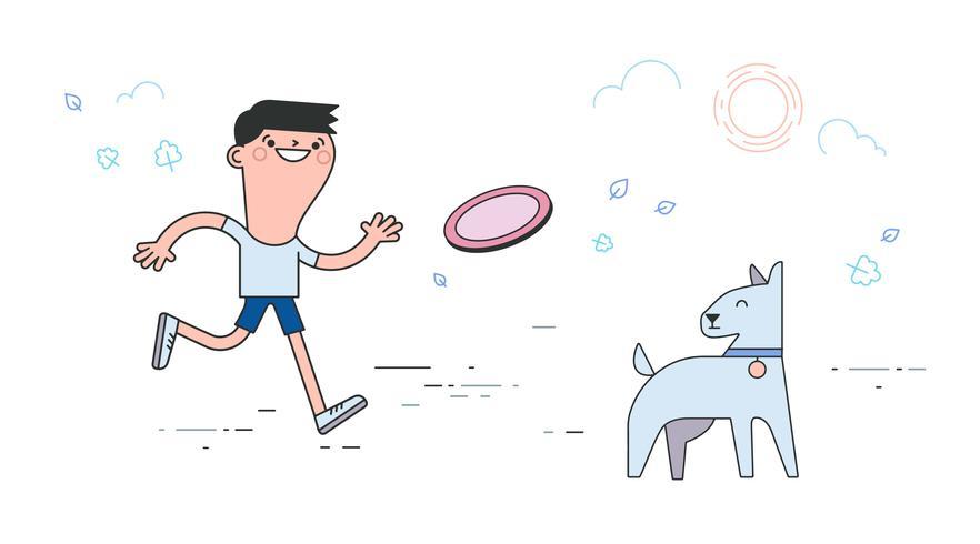 vector de perro frisbee